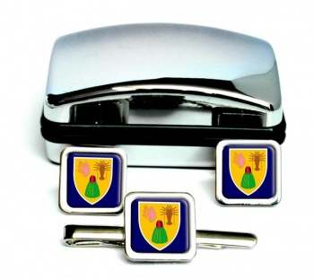 Turks and Caicos Islands Square Cufflink and Tie Clip Set