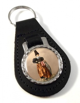 Tyrolean National Costume Leather Key Fob