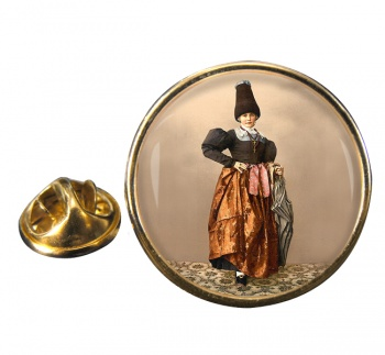 Tyrolean National Costume Round Pin Badge