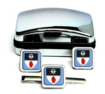 County Tyrone (UK) Square Cufflink and Tie Clip Set
