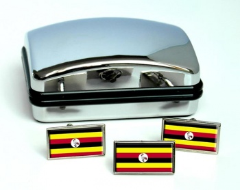 Uganda Flag Cufflink and Tie Pin Set