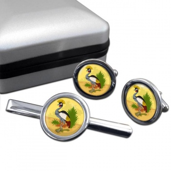 Uganda Badge Round Cufflink and Tie Clip Set
