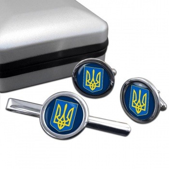 Ukraine  Round Cufflink and Tie Clip Set