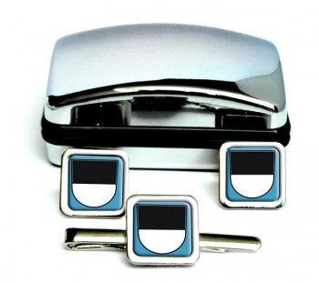 Ulm (Germany) Square Cufflink and Tie Clip Set