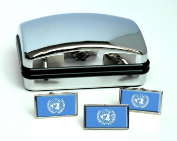 United Nations Flag Cufflink and Tie Pin Set