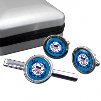 United States Coast Guard Auxiliary Round Cufflink and Tie Clip Set