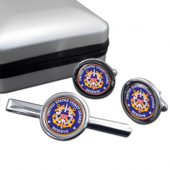 United States Coast Guard Reserve  Round Cufflink and Tie Clip Set