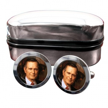 President George Bush Round Cufflinks