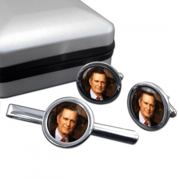 President George Bush Round Cufflink and Tie Clip Set