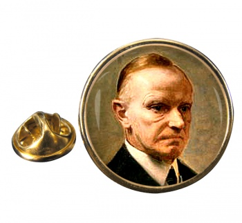 President Calvin Coolidge Round Pin Badge