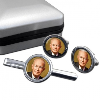 President Dwight Eisenhower Round Cufflink and Tie Clip Set