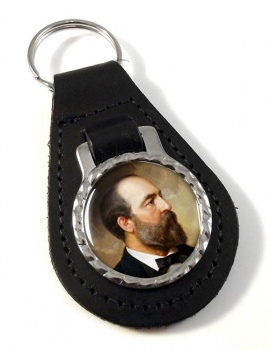 President James Garfield Leather Key Fob
