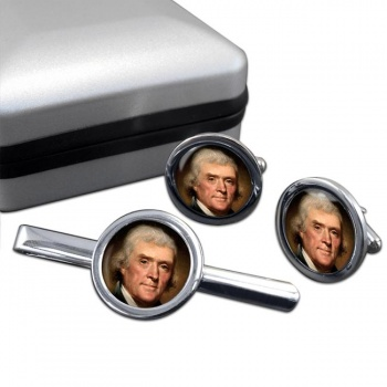 President Thomas Jefferson Round Cufflink and Tie Clip Set