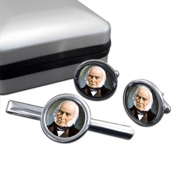 President John Quincy Adams Round Cufflink and Tie Clip Set