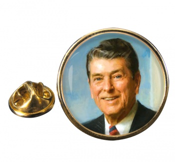 President Ronald Reagen Round Pin Badge