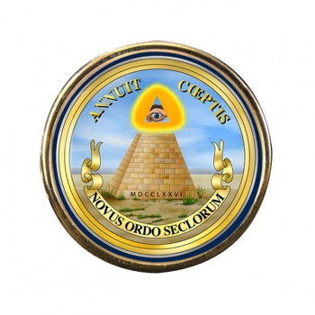 United States Masonic Seal Reverse Round Pin Badge
