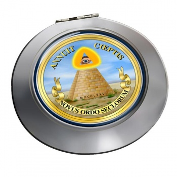United States Masonic Seal Reverse Round Mirror