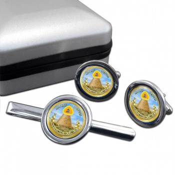 United States Masonic Seal Reverse Round Cufflink and Tie Clip Set