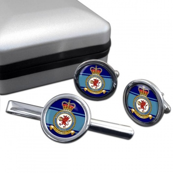 RAF Station Valley Round Cufflink and Tie Clip Set
