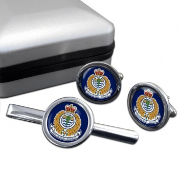 Vancouver Police Round Cufflink and Tie Clip Set