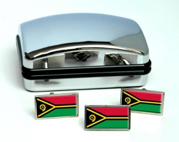 Vanuatu Flag Cufflink and Tie Pin Set