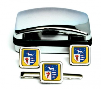 Vasterbotten (Sweden) Square Cufflink and Tie Clip Set
