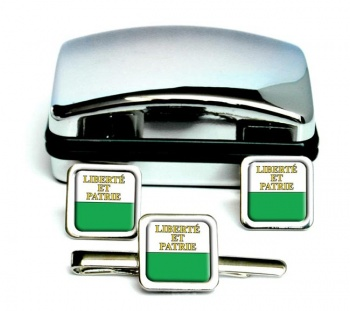 Vaud (Switzerland) Square Cufflink and Tie Clip Set