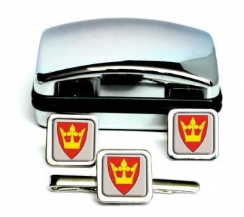 Vestfold (Norway) Square Cufflink and Tie Clip Set