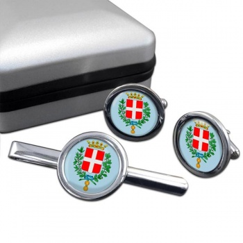 Vicenza (Italy) Round Cufflink and Tie Clip Set