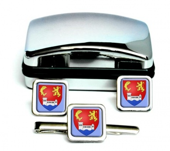 Villeurbanne (France) Square Cufflink and Tie Clip Set