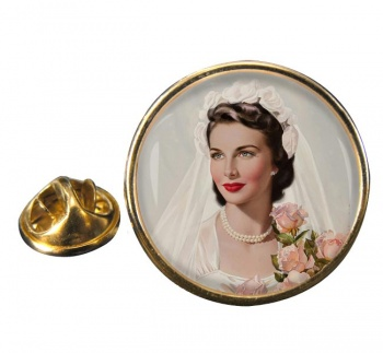 Vintage Bride Round Pin Badge