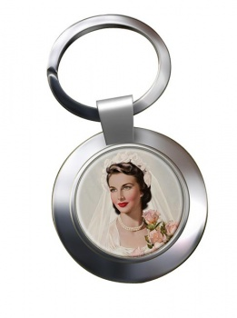 Vintage Bride Chrome Key Ring