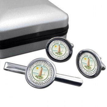 Virginia Beach VA  Round Cufflink and Tie Clip Set