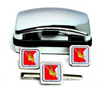 Vologda Square Cufflink and Tie Clip Set