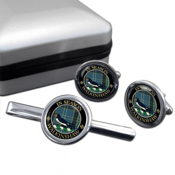 Walkinshaw Scottish Clan Round Cufflink and Tie Clip Set