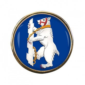 Warwickshire Bear Round Pin Badge
