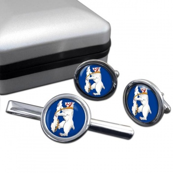 Warwickshire Bear Round Cufflink and Tie Clip Set