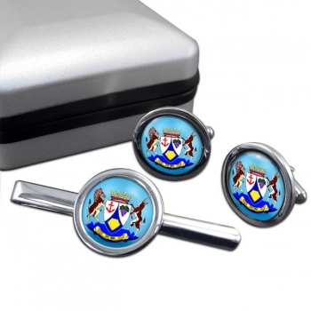 Western Cape (South Africa) Round Cufflink and Tie Clip Set