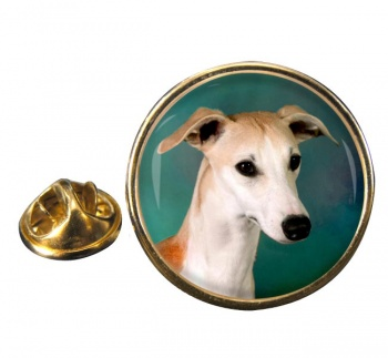 Whippet Round Pin Badge