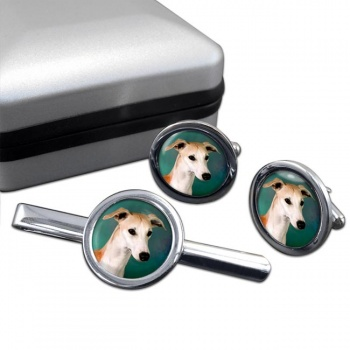 Whippet  Cufflink and Tie Clip Set