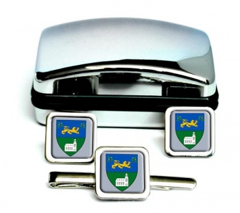 County Wicklow (Ireland) Square Cufflink and Tie Clip Set