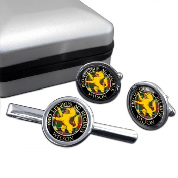 Wilson Scottish Clan Round Cufflink and Tie Clip Set