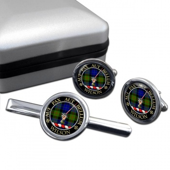 Wilson of Gunn Scottish Clan Round Cufflink and Tie Clip Set