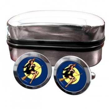 Witch's Delight Pin-up Girl Round Cufflinks