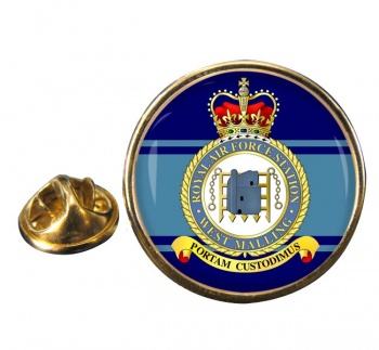 RAF Station West Malling Round Pin Badge
