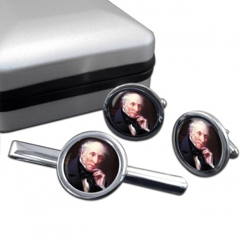 William Wordsworth Round Cufflink and Tie Clip Set