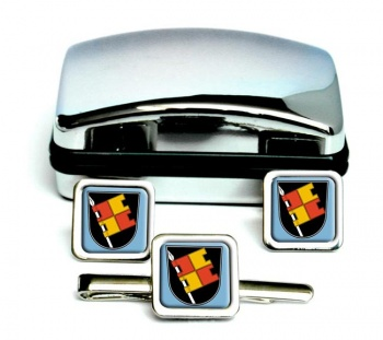 Wurzburg (Germany) Square Cufflink and Tie Clip Set
