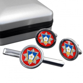West Yorkshire Fire and Rescue Round Cufflink and Tie Clip Set