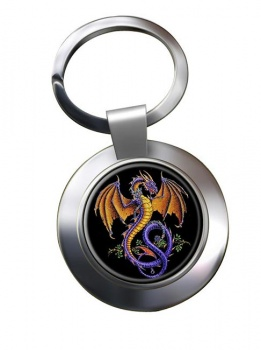 Wyverex Alchemy Dragon Leather Chrome Key Ring