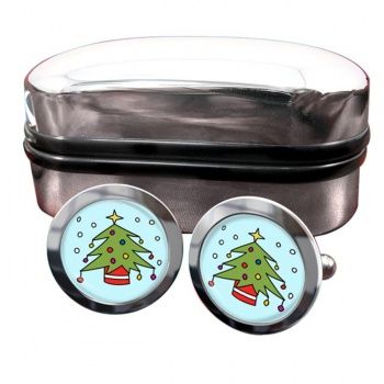 Christmas Tree Round Cufflinks